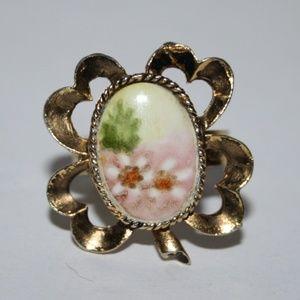 Vintage adjustable Flower Clover gold ring